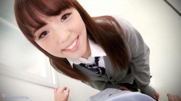 Innocent looking Japanese schoolgirlEna Nishino getting naked