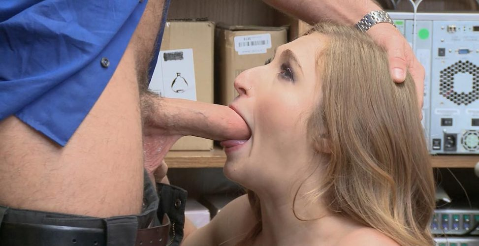 blonde shoplifter takes cock in her mouth